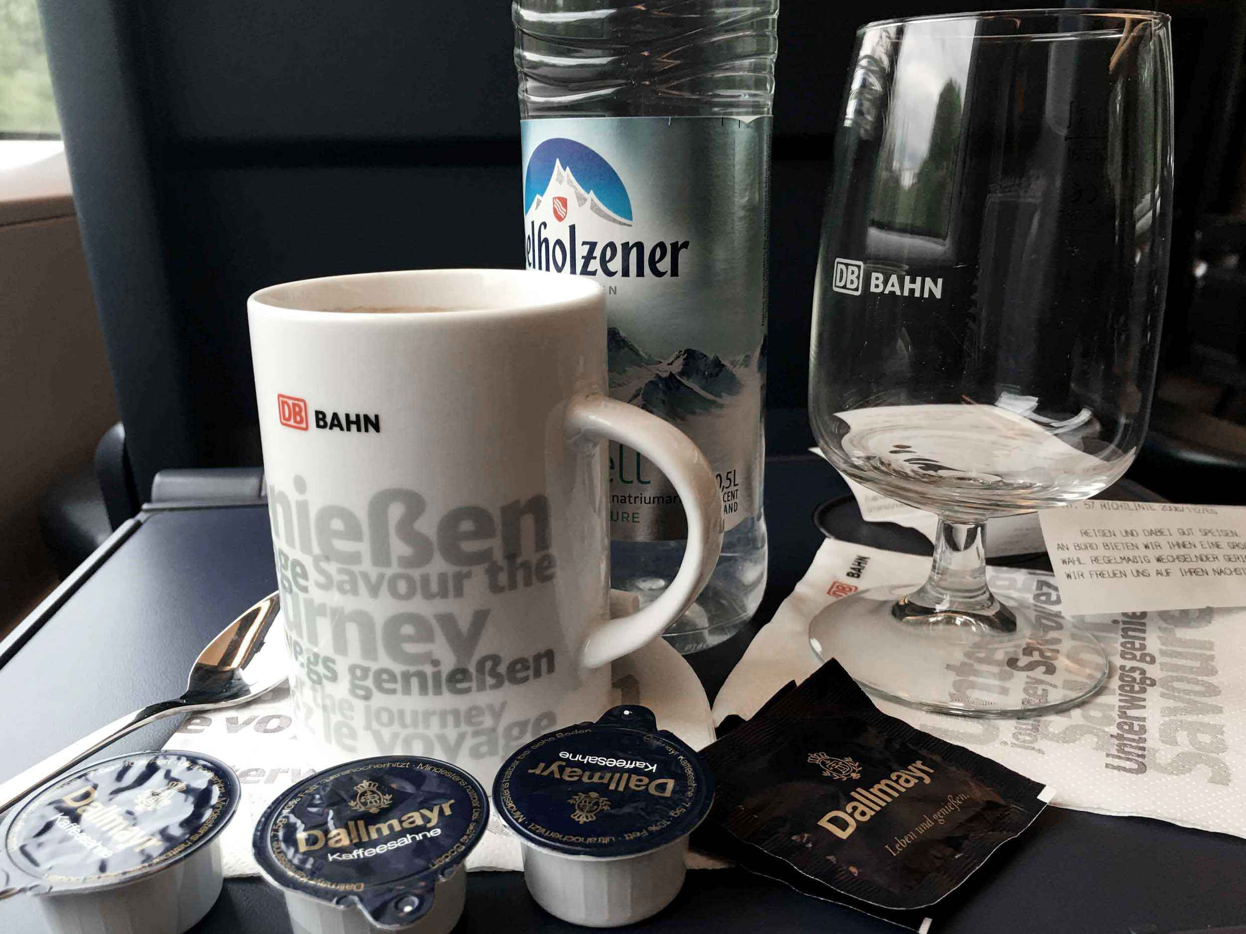 Coffee inside train, ICE, Inter City Express, First Class, German Rail. Image©thingstodot.com