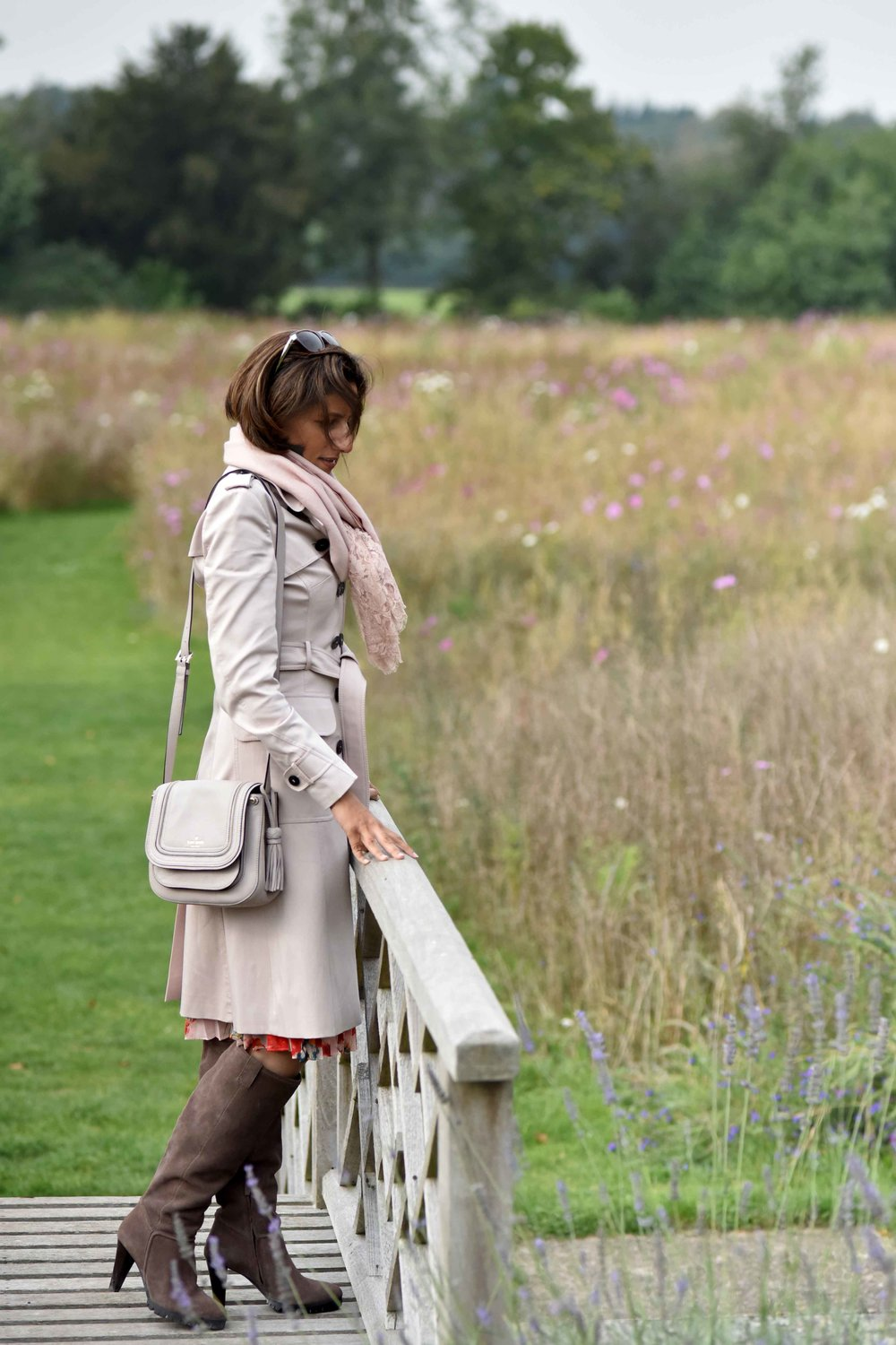 Karen Millen trench coat, dress & suede boots, Coworth Park Hotel, Ascot, U.K. Photo: Nina Shaw. Image©thingstodot.com