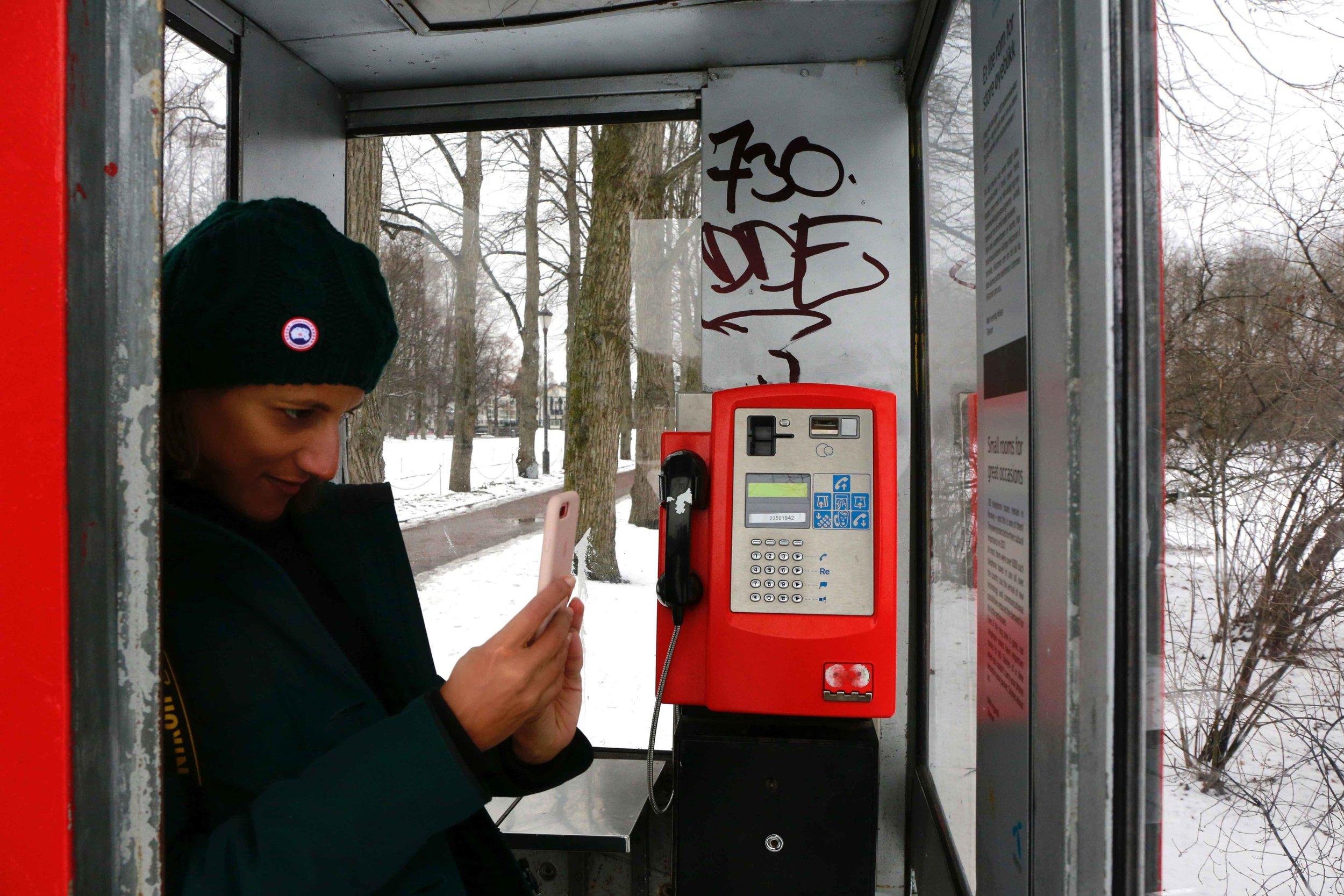 Red Telephone Booth, telefonkiosk, Vigeland Sculptor Park, Oslo, Norway. Photo: Oslo Photo Tour Image©thingstodot.com