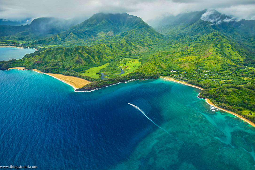 Doors off helicopter tour, aerial view, Kauai, Hawaii. Image©www.thingstodot.com
