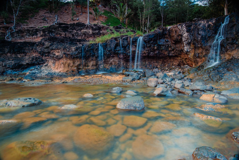 Secret Beach Waterfalls, Kauai, Hawaii.