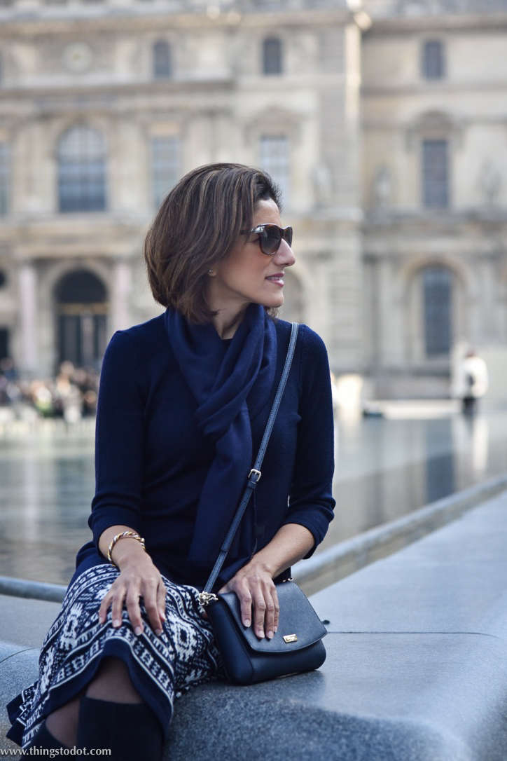Ralph Lauren dress, Marks & Spencer boots, Kate Spade sling bag, Le Louvre, Paris. Photo: Nina Shaw. Image©www.thingstodot.com