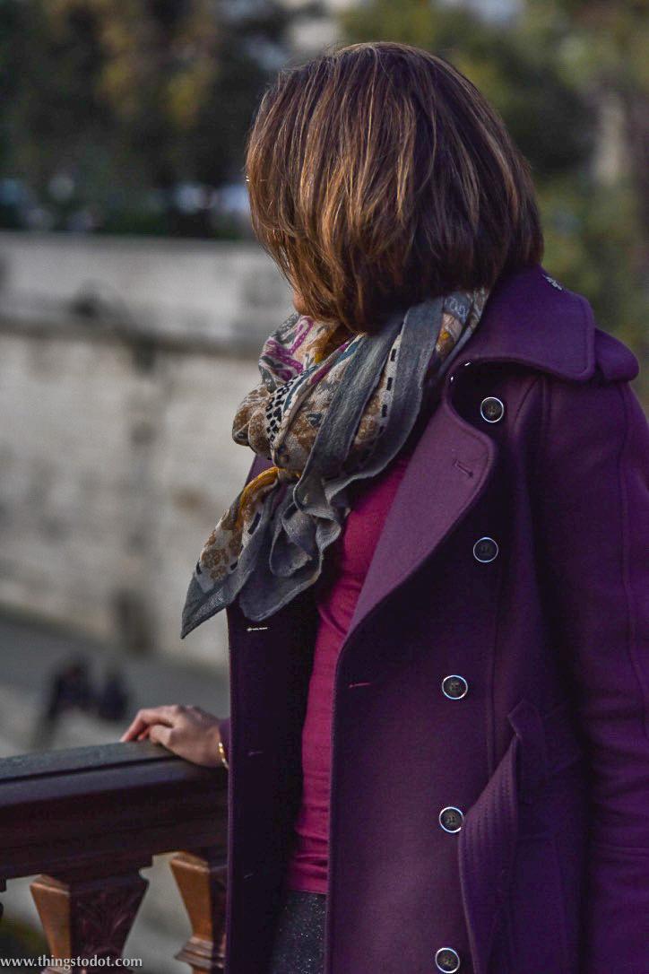 Karen Millen fall/winter coat, Notre Dame, Paris, France. Photo: Nina Shaw. Image©www.thingstodot.com.