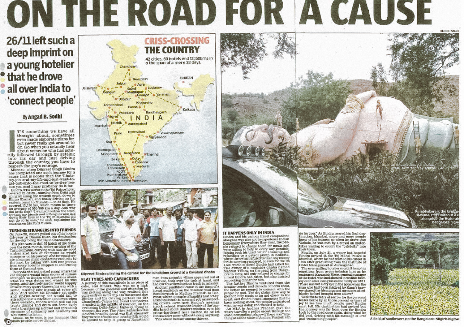Dilpreet Singh Bindra, press coverage on cross-country drive to every Taj hotel in India.