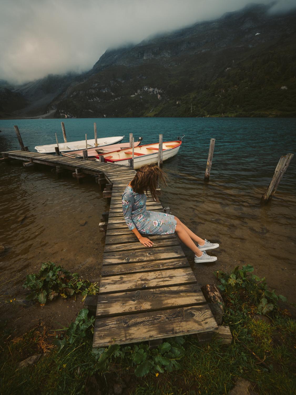Engstlensee, Switzerland. Photo: https://fabiocrudele-photography.com. Image©www.thingstodot.com. Dress: Cream Clothing, Denmark.