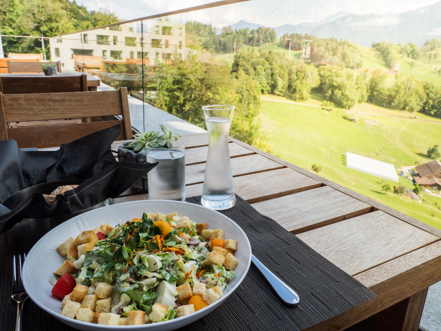 Buergenstock Wald Hotel, Buergenstock, Switzerland. Dinner with a view. Photo: Gunjan Virk.