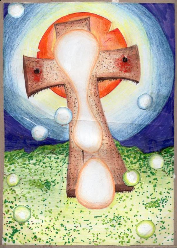 The Cross (colour pencils and pens/tape)