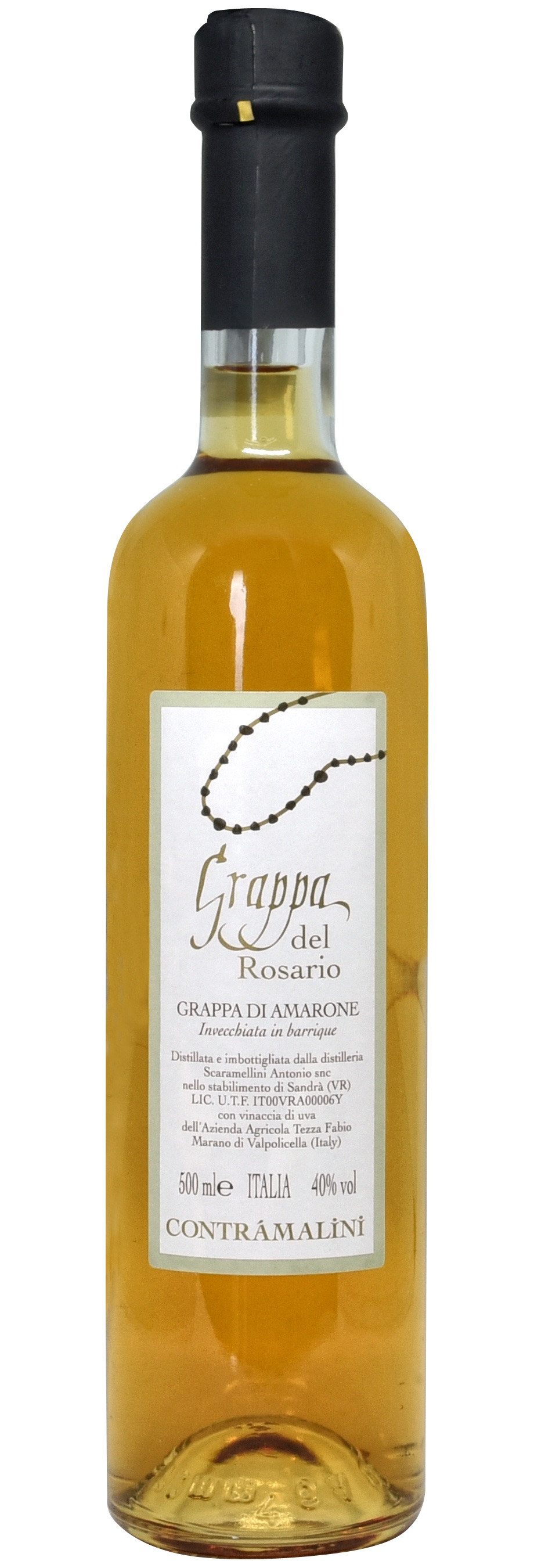 - Grappa del RosarioObtained by distilling the grape pomace of our Amarone della Valpolicella, and aged in barriques.500 ML - 40% vol.