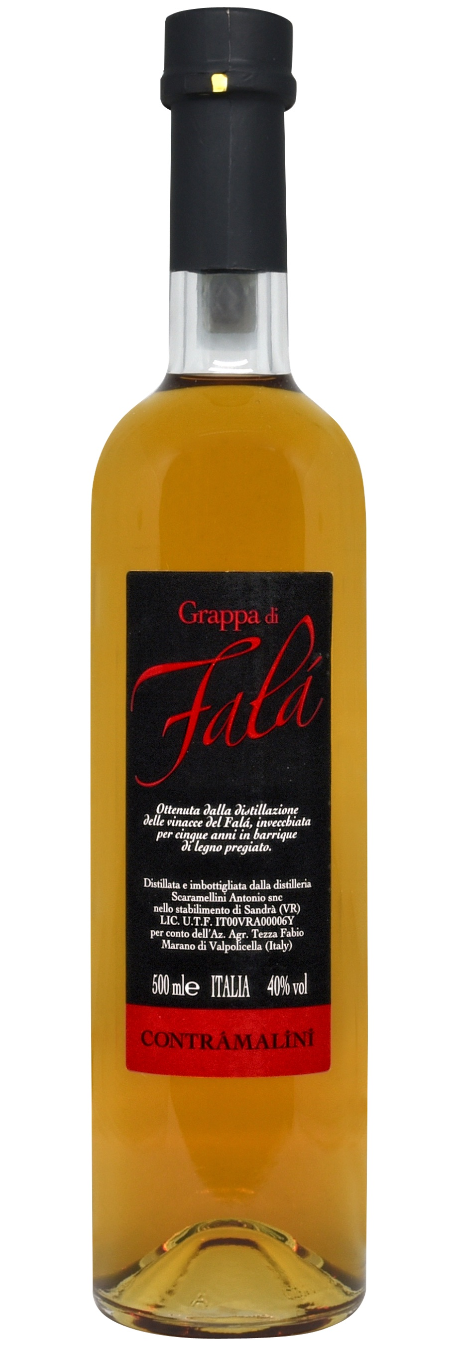 - Grappa di FalàObtained by distilling the grape pomace of our Falà, and aged for five years in top-quality oak barriques.500 ML - 40% vol.