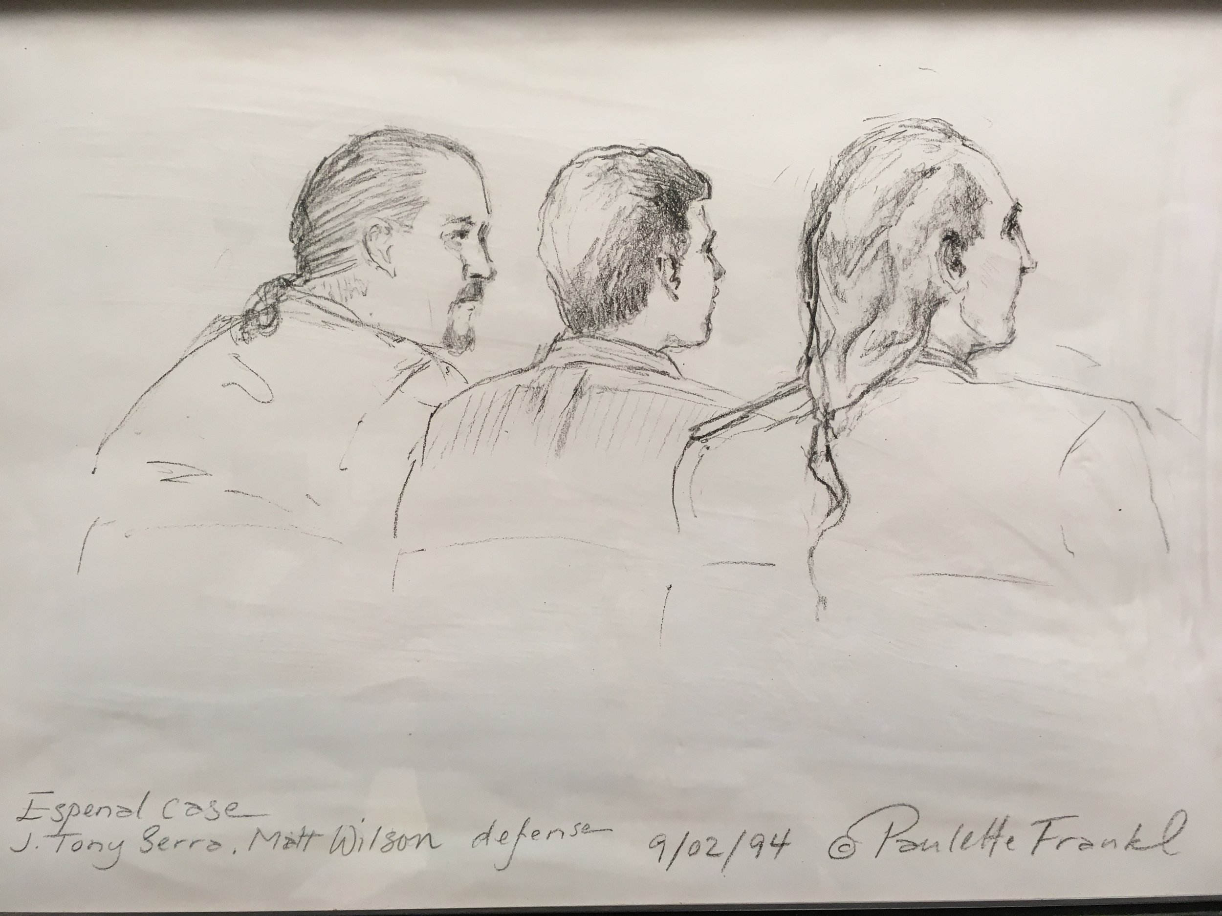 Courtroom sketch (left to right: Blake Wilson, defendant, Tony Serra), Contra Costa Superior Court, Sept. 2, 1994 - by Paulette Frankel