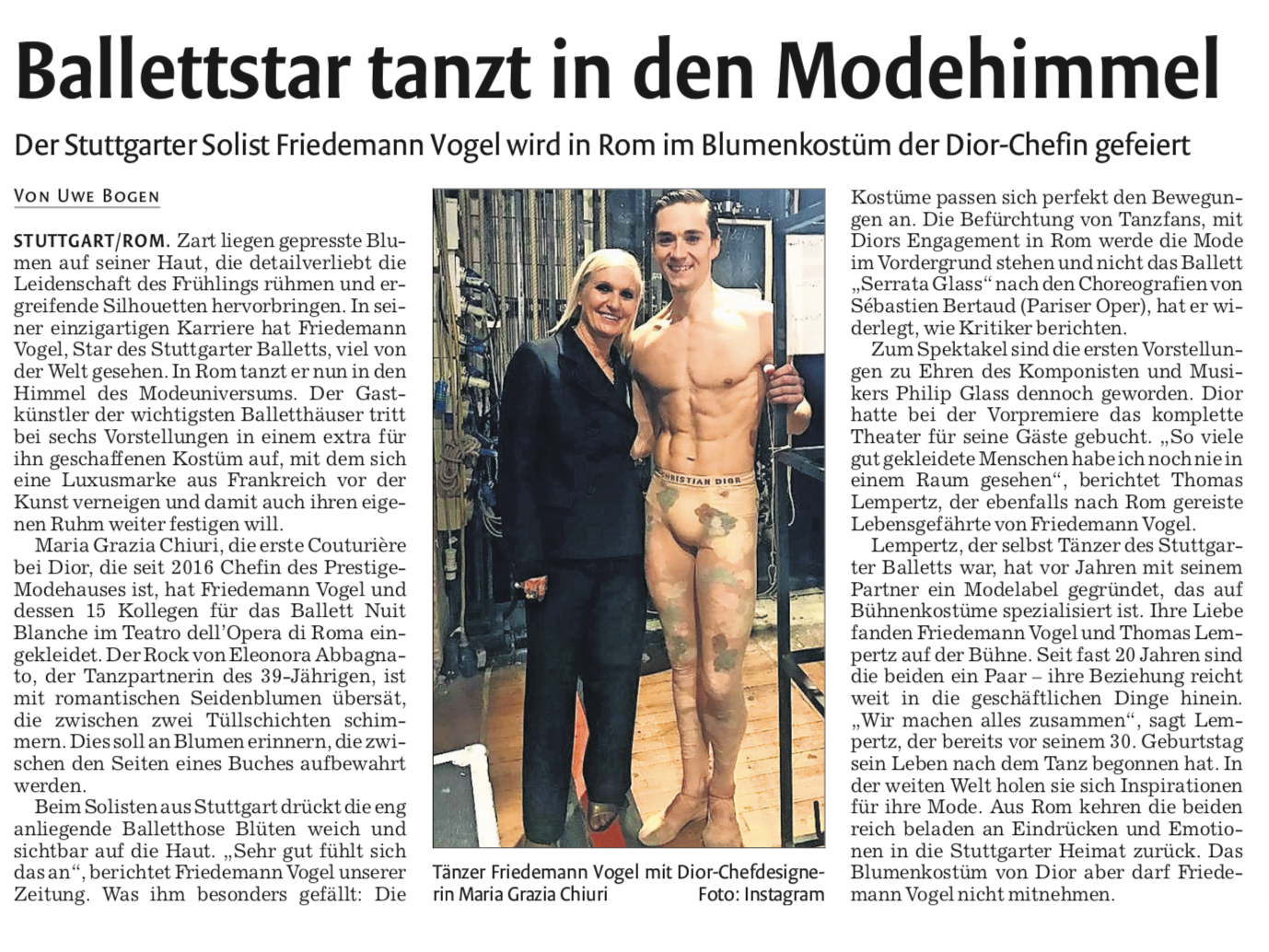 The world renowned dancer speaks to  Stuttgarter Zeitung  about performing in a costume specially designed for him by Maria Grazia Chiuri of Christian Dior for the world premiere of  Nuit Blanche  by Sébastien Bertaud.