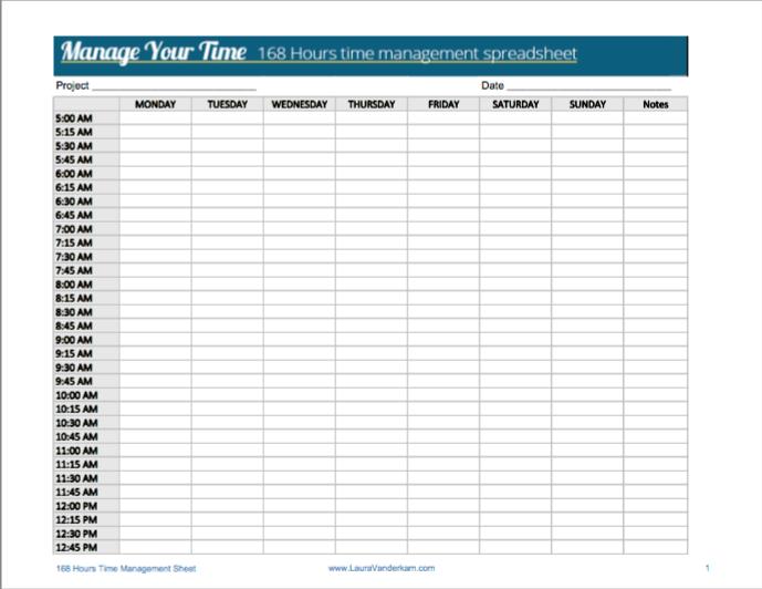 168 Hour Time Managment Worksheet