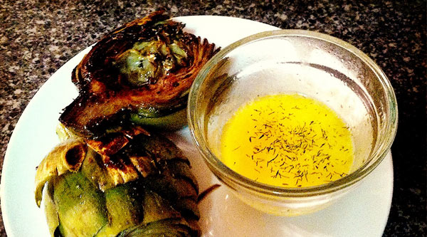 Grilled Artichokes with Herb Butter Dipping Sauce