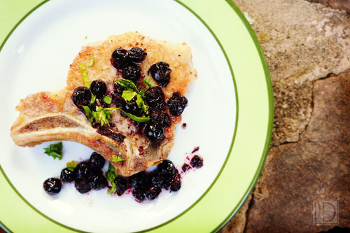 Pork Chops with Savory Blueberry Sauce