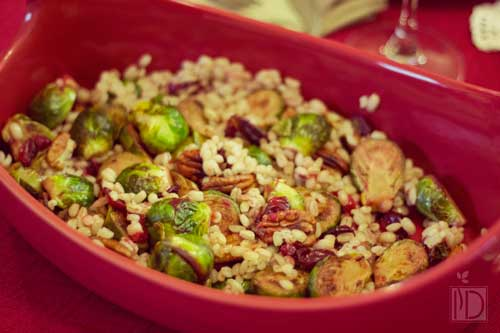 Pan-seared Brussels Sprouts with Cranberries and Pecans