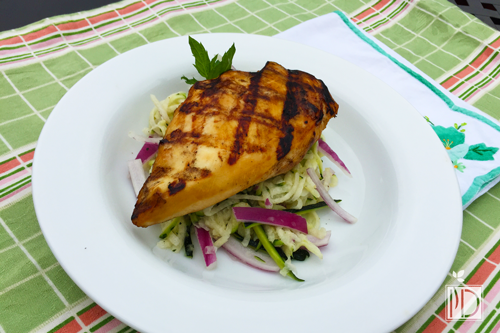 Coffee and Ginger Spiced Chicken with Zucchini, Jicama and Red Onion Slaw