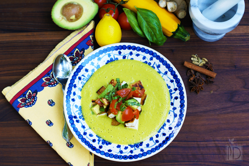 Creamy Summer Squash Soup with Chai-Spiced Tofu