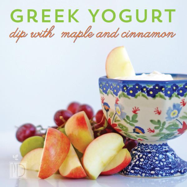 Greek yogurt dip with maple and cinnamon
