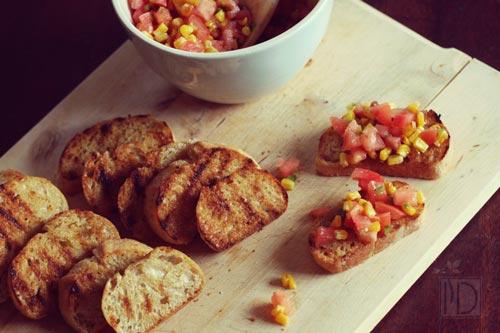 Tomato, Corn, Jalapeno Bruschetta