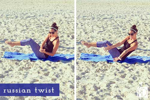 3.The Russian Twist This exercise mainly targets your obliques, however it engages your back muscles which help protect and support your spine.