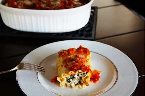Spinach and Portabella Lasagna Roll-Ups