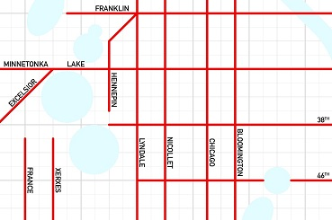 South Minneapolis. The underlying grid provides the scale. Each line represents a quarter-mile, so two boxes equals a half-mile.