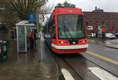 A streetcar in Portland, OR. Photo by the author. Small stations are easier to install, but less useful in the long run. Photo by the author.