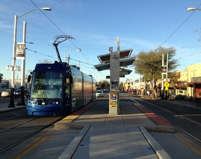 A streetcar in Tucson, AZ. In this case, it's the streetcar blocking other vehicles. Photo by the author.