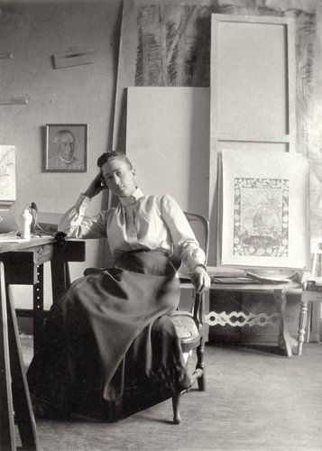 Hilma af Klint in her studio in 1895. {Hilma af Klint (October 26, 1862– October 21, 1944) was a Swedish artist and mystic, considered one of the first abstract painters}