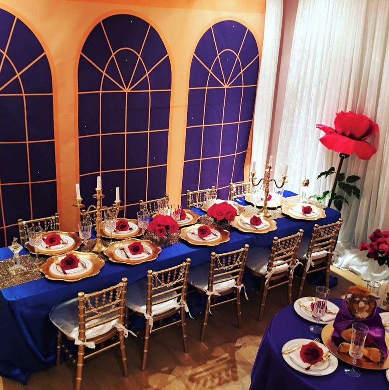 Plan the perfect tablescape with rich satin linens, gold chiavari chairs fit for royalty. Add chargers and unique tableware.