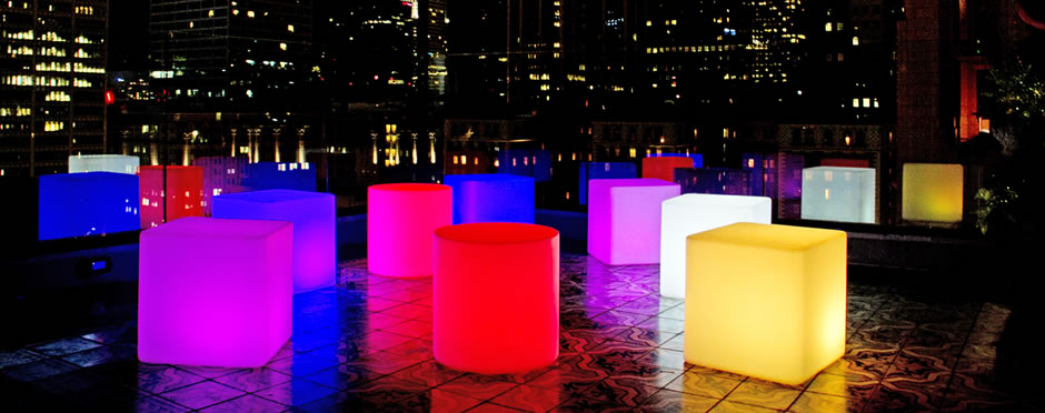 LED light up lounge furniture at an event
