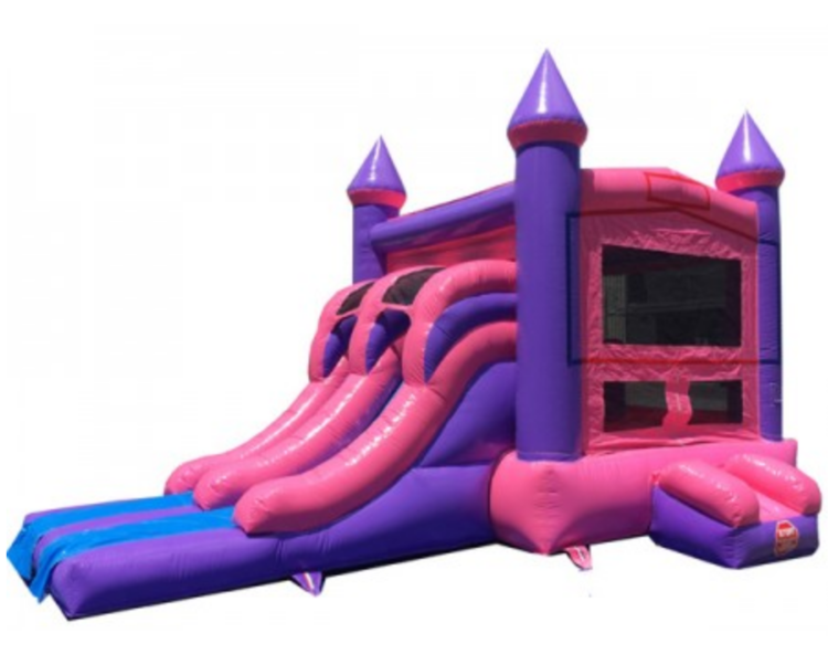 Pink princess combo inflatable rental Milwaukee, bounce, hoop, slide