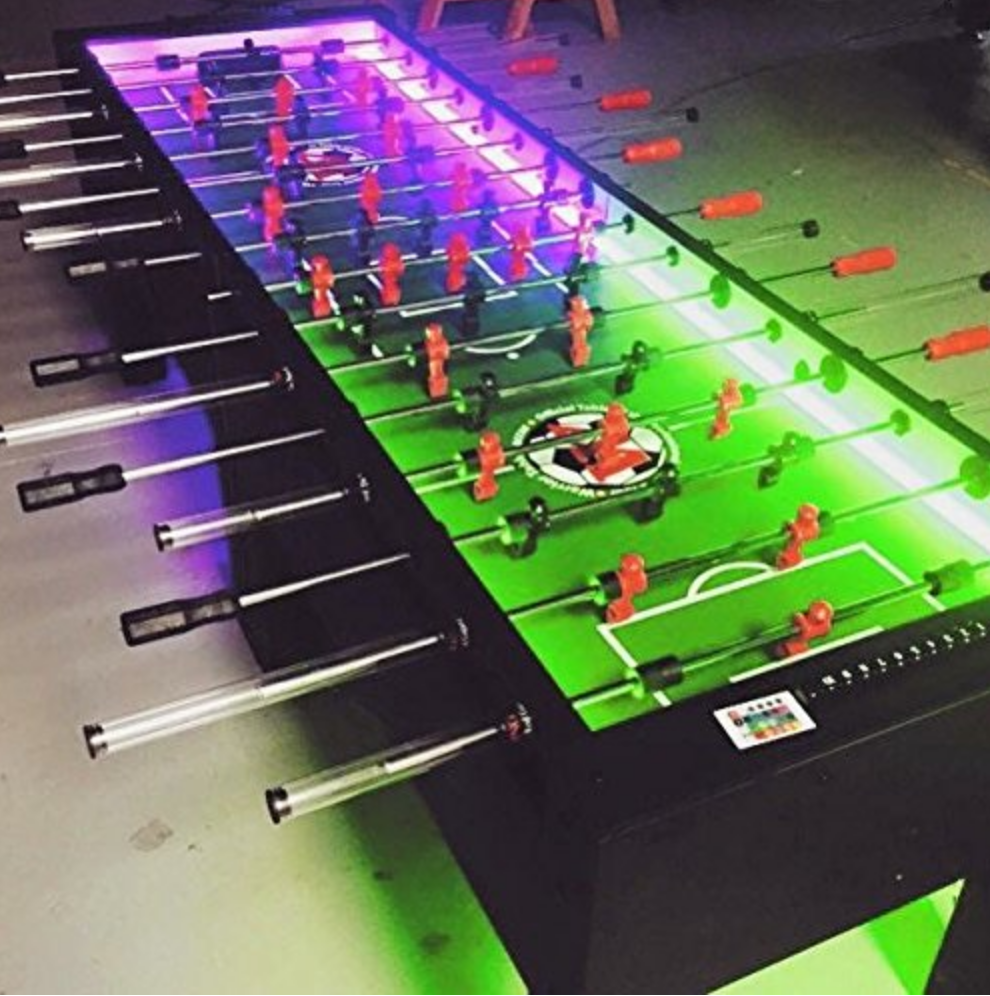 8 person LED Glow in the Dark Foosball Table Milwaukee Waukesha Wisconsin Rental