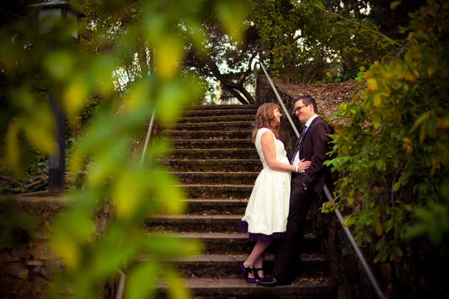 Bride and Groom at the Oakland Rose Garden's