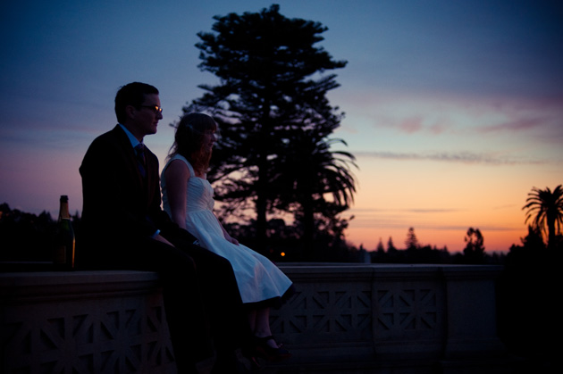 Bride and Groom at sunset at Mountain View Cemetary in Oakland