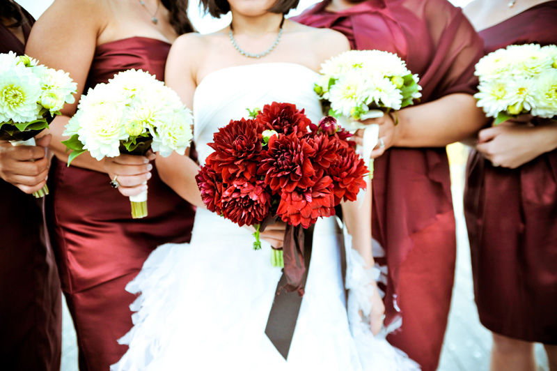Detail of Bride and Bridesmaids holding bouquets in Oakland, CA