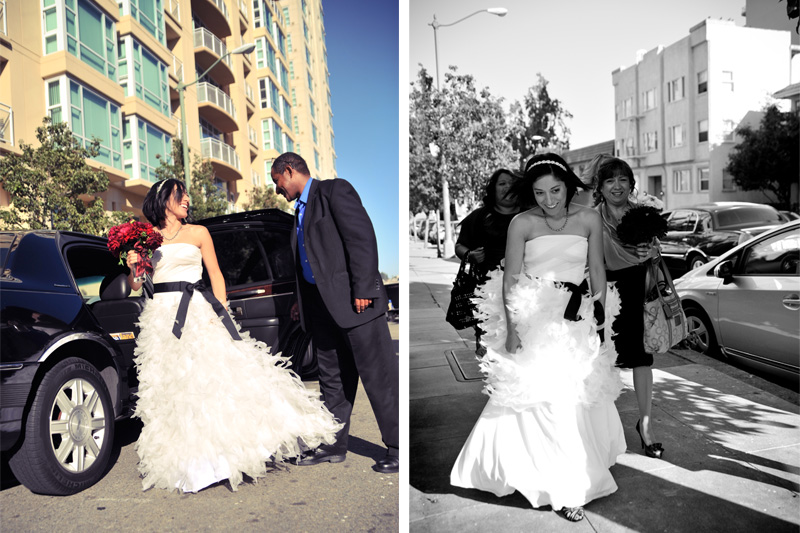 Bride getting out of a Limo ,Photo by Oakland Wedding Photographer.