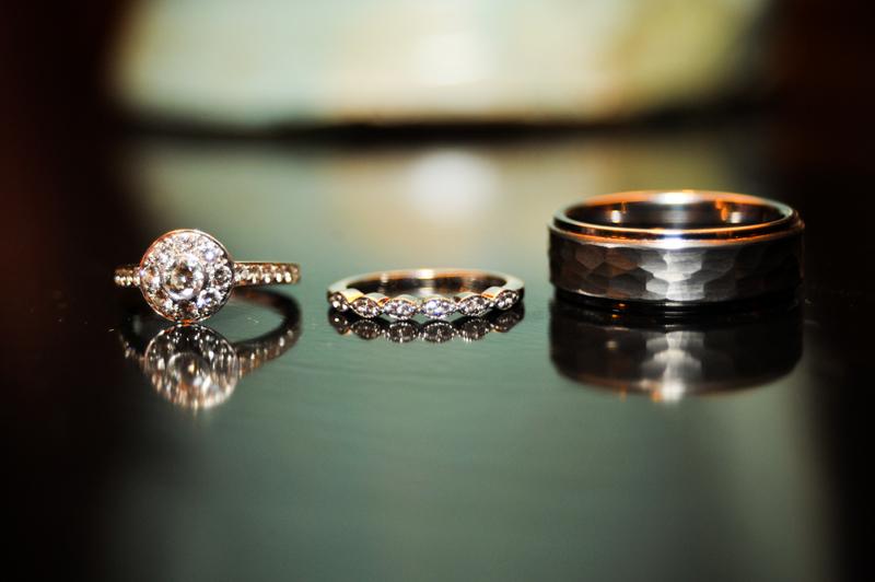 Detail of wedding rings in Oakland, CA