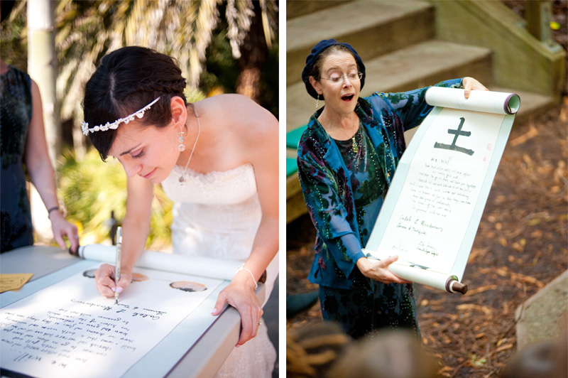Bride signing jewish ketubah at UC Berkeley Botanical Garden Wedding