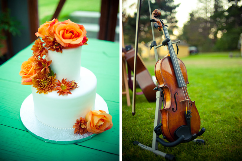 Detail of wedding cake and violin at Mar Vista Wedding