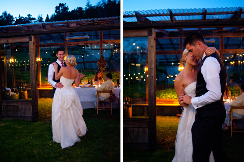 Bride and Groom dancing in the moonlight in Anchor Bay, CA