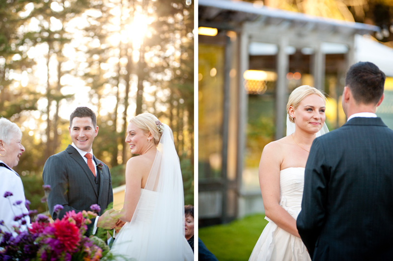 Couple during wedding ceremony at Mar Vista Cottages