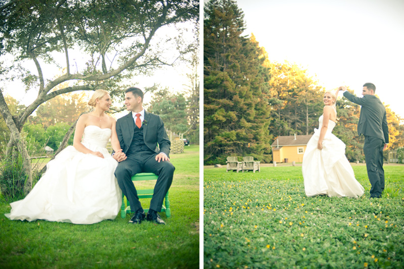 Portrait of Bride and Groom with Mar Vista Cottages in the back