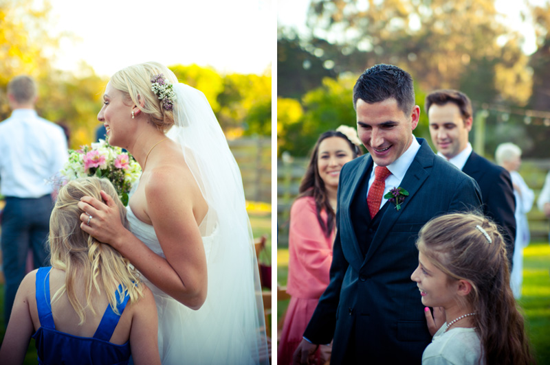 Couple greets wedding guests