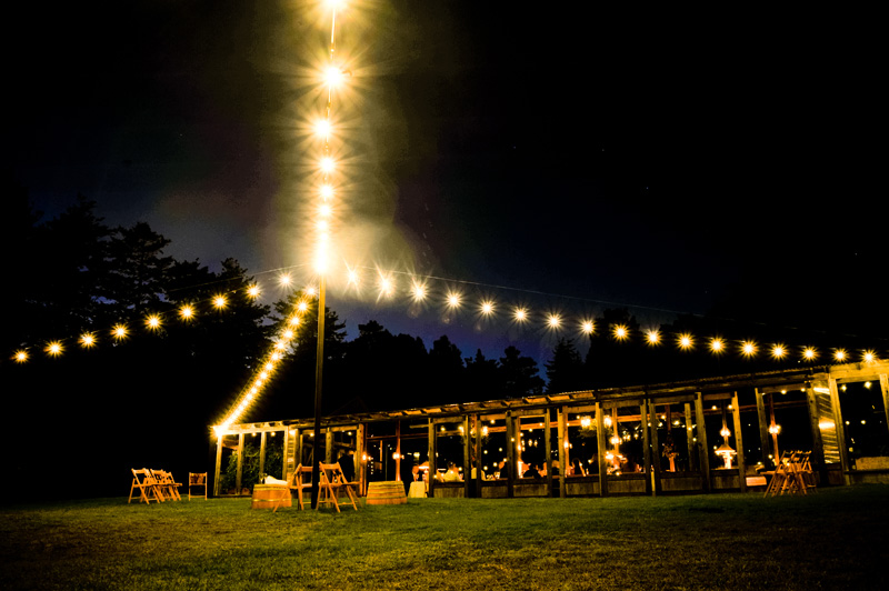 Twinkly lights during evening at Mar Vista Cottages