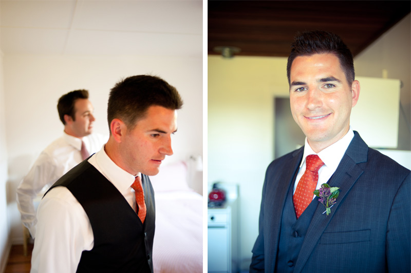 Groom getting ready for ceremony in Anchor Bay, CA
