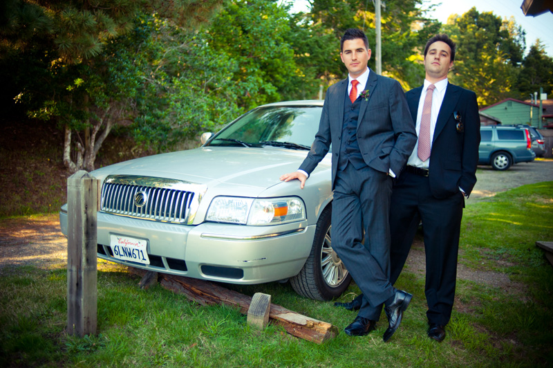Portrait of Groom and brother in front of car in Anchor Bay, CA