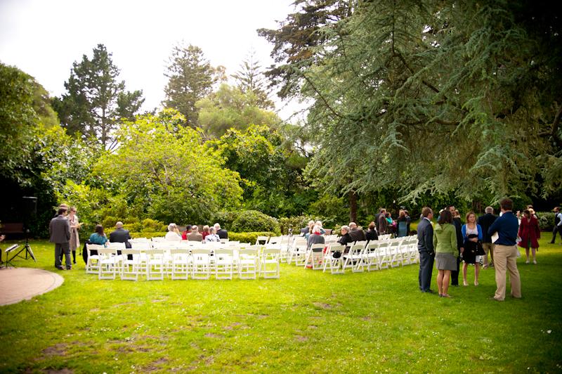 Wedding setup at Shakespeare Garden in San Francisco