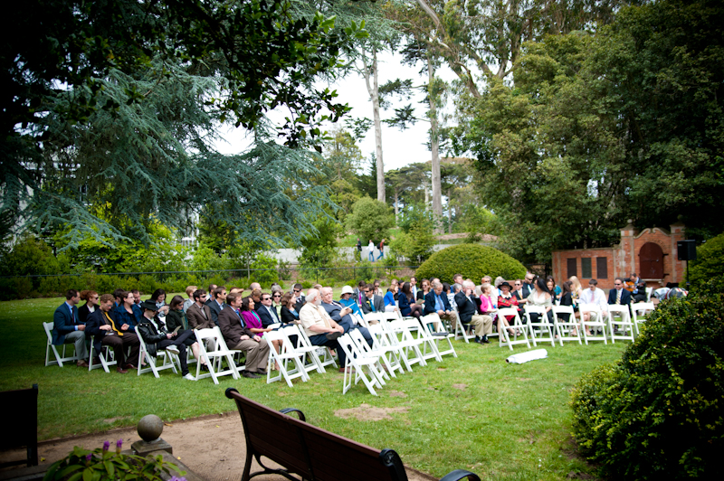 Seated guests at Shakespeare Garden in Golden Gate Park