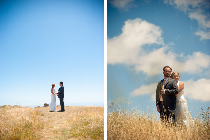 Bride and Groom at Trojan Point on Mt. Tamalpais